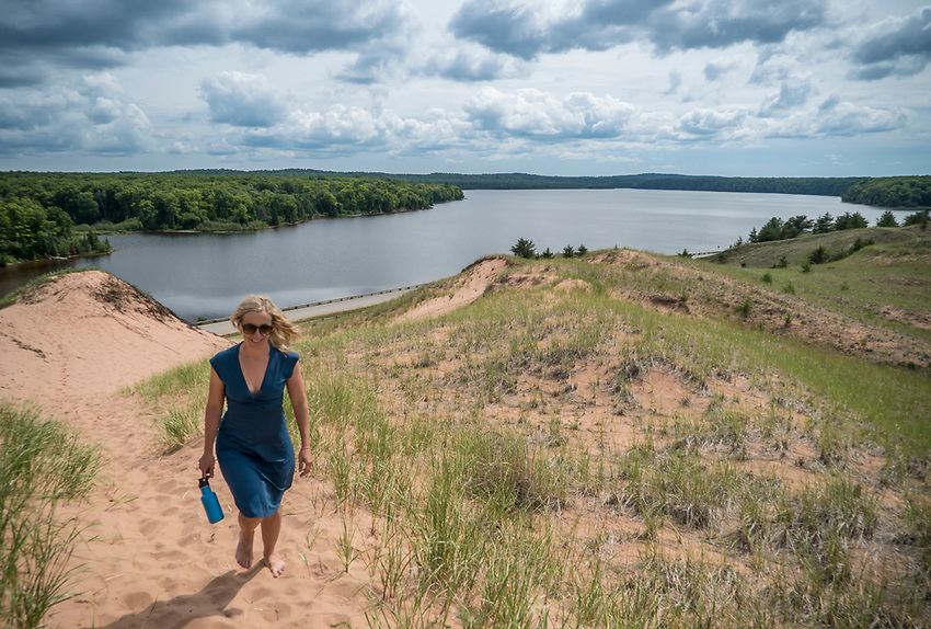 Exploring the Grand Sable Dunes of Pictured Rocks National Lakeshore near Grand Marais, Michigan.
