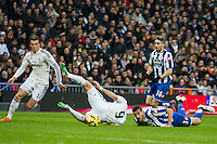 Real Madrid´s Karim Benzema and Gareth Bale and Deportivo de la Coruna's Albert Lopo and Luisinho during 2014-15 La Liga match between Real Madrid and Deportivo de la Coruna at Santiago Bernabeu stadium in Madrid, Spain. February 14, 2015. (ALTERPHOTOS/Luis Fernandez) /NORTEphoto.com