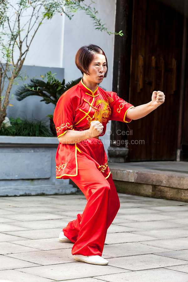 Wenzhou, Zhejiang, China.  Tai Chi Demonstration at the Martial Arts Museum.