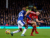 5th November 2017, Goodison Park, Liverpool, England; EPL Premier League Football, Everton versus Watford; Beni Baningime of Everton holds onto Tom Cleverley of Watford as he turns