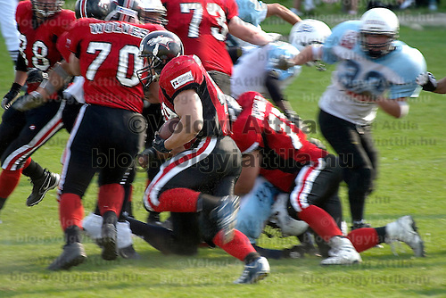Hungarian american football team Wolves playing against Eagles.