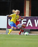 Mimmi Larsson of Sweden battles with Andrine Tomter of Norway during the UEFA Womens U19 Championships at Stebonheath park Sunday 25th August 2013. All images are the copyright of Jeff Thomas Photography-www.jaypics.photoshelter.com-07837 386244-Any use of images must be authorised by the copyright owner.