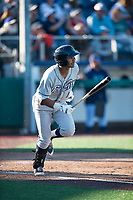 Tri-City Dust Devils shortstop Kelvin Alarcon (1) starts down the first base line during a Northwest League game against the Everett AquaSox at Everett Memorial Stadium on September 3, 2018 in Everett, Washington. The Everett AquaSox defeated the Tri-City Dust Devils by a score of 8-3. (Zachary Lucy/Four Seam Images)