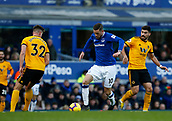 2nd February 2019, Goodison Park, Liverpool, England; EPL Premier League Football, Everton versus Wolverhampton Wanderers; Gylfi Sigurdsson of Everton runs at Leander Dendoncker on the edge of the Wolves area