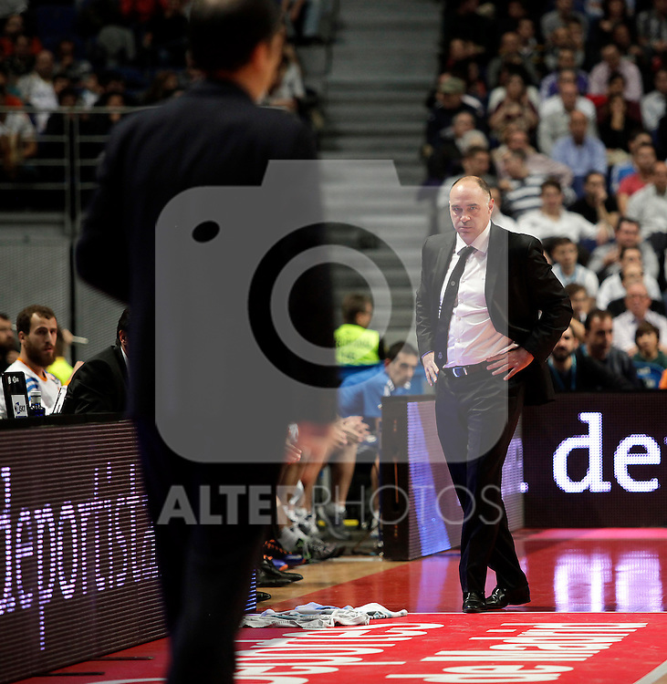 Real Madrid´s  coach Pablo Laso during Euroleague Basketball match. November 01,2013. (ALTERPHOTOS/Victor Blanco)