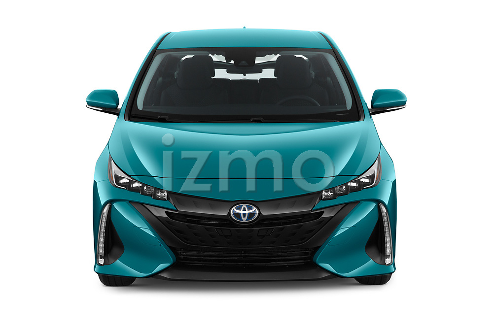 Car photography straight front view of a 2019 Toyota Prius-Prime Plus 5 Door Hatchback Front View
