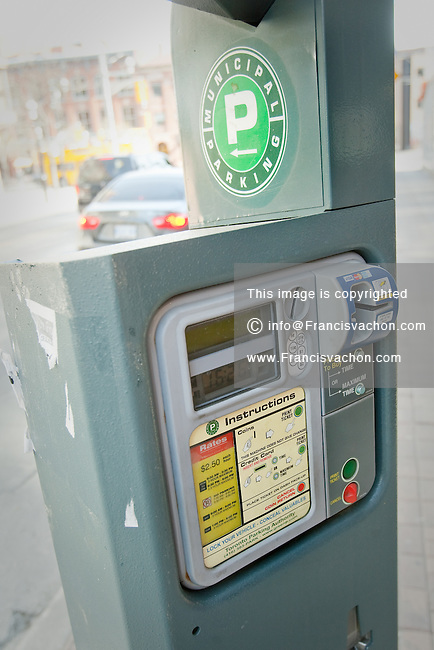 A municipal parking machine is seen in Toronto April 20, 2010.