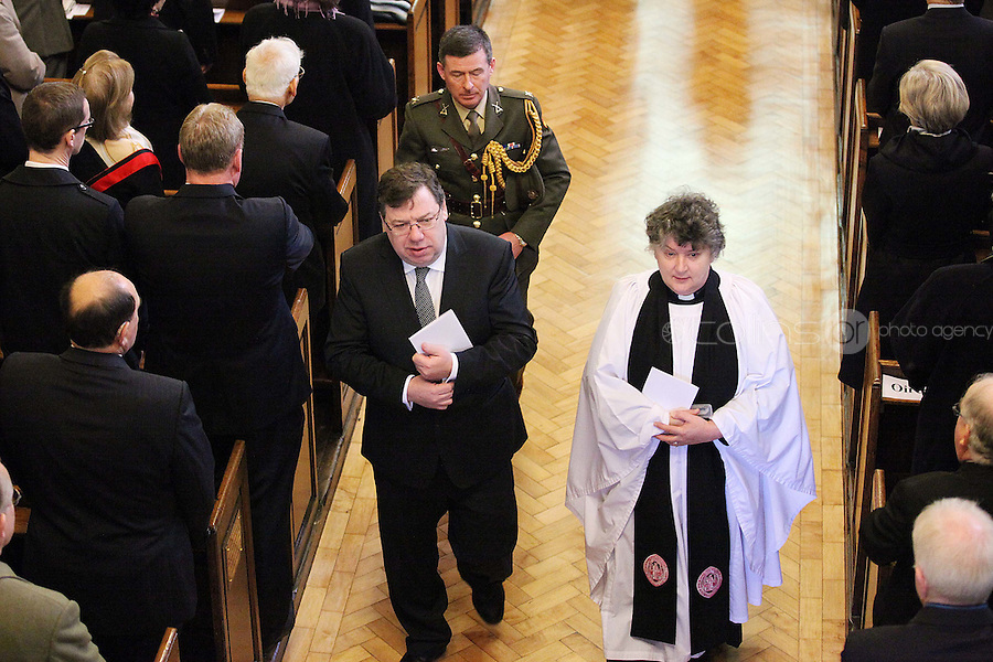 9/3/2011. Former Taoiseach Brian Cowen is pictured leaving St Annes Church, Dawson St Dublin after mass with the president before the first day at the Dail. Picture James Horan/Collins