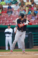Great Lakes Loons outfielder Alex Verdugo (9) at bat during a game against the Kane County Cougars on August 13, 2015 at Fifth Third Bank Ballpark in Geneva, Illinois.  Great Lakes defeated Kane County 7-3.  (Mike Janes/Four Seam Images)