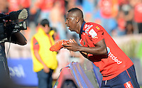 MEDELLIN -COLOMBIA, 22-FEBRERO-2015. Juan Caicedo del Independiente Medellin celebra su gol anotado a la Equidad durante  partido de la quinta fecha de La Liga Aguila I 2015 del futbol colombiano primera division  jugado en el estadio Atanasio Girardot de la ciudad de Medellin  . /  Independiente Medellin player Juan Caicedo celebrates his goal scored at Equidad  during the fifth match of the 2015-I Liga Aguila  played at the stadium Atanasio Girardot  . Photo / VizzorImage / Leon Monsalve  / Stringer