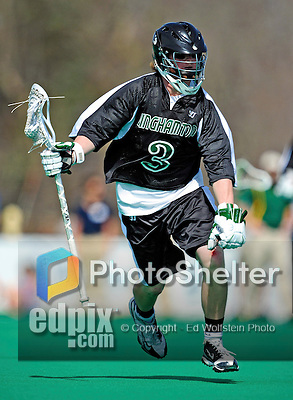 3 April 2010: Binghamton University Bearcats' Midfielder Shane Warner, a Freshman from Tomkins Cove, NY, in action against the University of Vermont Catamounts at Moulton Winder Field in Burlington, Vermont. The Catamounts defeated the visiting Bearcats 11-8 in Vermont's opening home game of the 2010 season. Mandatory Credit: Ed Wolfstein Photo