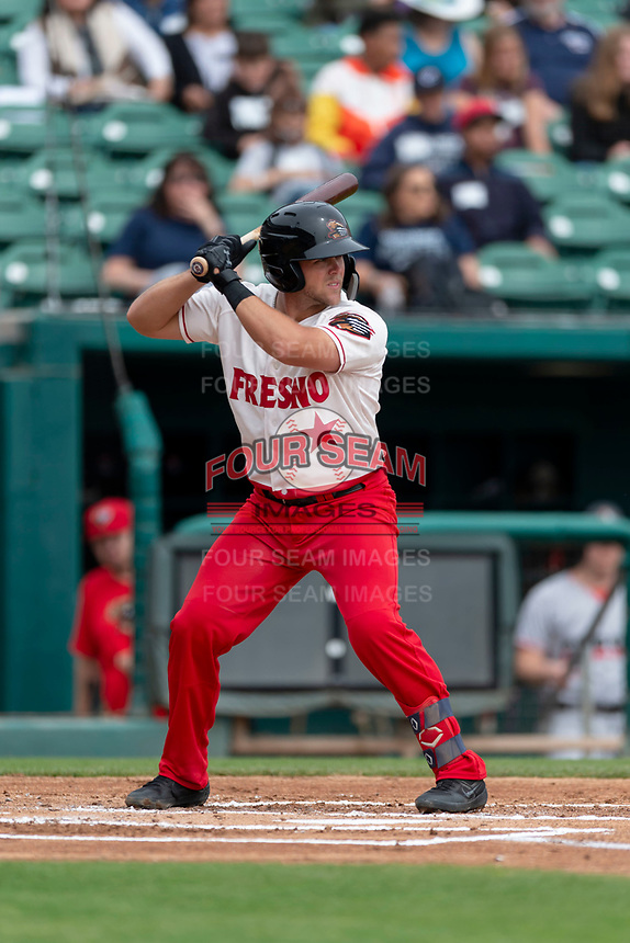 Fresno Grizzlies second baseman Jacob Wilson (4) batting during a game against the Reno Aces at Chukchansi Park on April 8, 2019 in Fresno, California. Fresno defeated Reno 7-6. (Zachary Lucy/Four Seam Images)