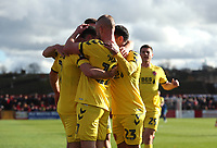 Fleetwood Town's Paddy Madden celebrates scoring the opening goal with his fellow team mates <br /> <br /> Photographer Rachel Holborn/CameraSport<br /> <br /> Emirates FA Cup First Round - Alfreton Town v Fleetwood Town - Sunday 11th November 2018 - North Street - Alfreton<br />  <br /> World Copyright &copy; 2018 CameraSport. All rights reserved. 43 Linden Ave. Countesthorpe. Leicester. England. LE8 5PG - Tel: +44 (0) 116 277 4147 - admin@camerasport.com - www.camerasport.com