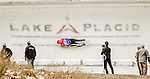 5 December 2015: Natalie Geisenberger, competing for Germany, slides through Curve 10 on her second run of the Viessmann World Cup Women's Luge. With a combined 2-run time of 1:28.240 Geisenberger takes a 4th place finish at the Olympic Sports Track in Lake Placid, New York, USA. Mandatory Credit: Ed Wolfstein Photo *** RAW (NEF) Image File Available ***