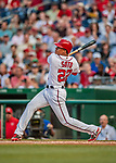 21 May 2018: Washington Nationals outfielder Juan Soto, making his first Major League start, gets his first career hit: a 3-run homer on the first pitch he faced by the San Diego Padres pitching at Nationals Park in Washington, DC. The Nationals defeated the Padres 10-2, taking the first game of their 3-game series. Mandatory Credit: Ed Wolfstein Photo *** RAW (NEF) Image File Available ***