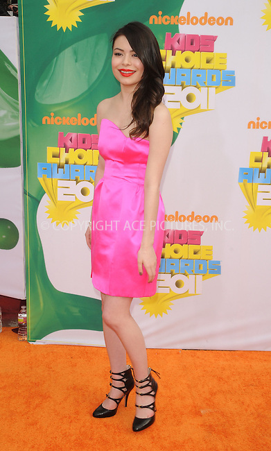 WWW.ACEPIXS.COM . . . . . ....April 2 2011, Los Angeles....Miranda Cosgrove arriving at Nickelodeon's 24th Annual Kids' Choice Awards at Galen Center on April 2, 2011 in Los Angeles, CA....Please byline: PETER WEST - ACEPIXS.COM....Ace Pictures, Inc:  ..(212) 243-8787 or (646) 679 0430..e-mail: picturedesk@acepixs.com..web: http://www.acepixs.com