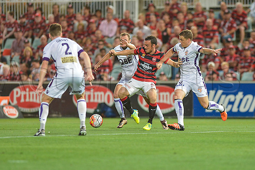 26.02.2016. Pirtek Stadium, Parramatta, Australia. Hyundai A-League. Western Sydney Wanderers versus Perth Glory. Wanderers forward Mark Bridge in action.