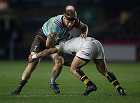 Harlequins' James Chisholm in action during todays match<br /> <br /> Photographer Bob Bradford/CameraSport<br /> <br /> European Rugby Challenge Cup - Harlequins v Wasps - Sunday 13th January 2018 - Twickenham Stoop - London<br /> <br /> World Copyright &copy; 2018 CameraSport. All rights reserved. 43 Linden Ave. Countesthorpe. Leicester. England. LE8 5PG - Tel: +44 (0) 116 277 4147 - admin@camerasport.com - www.camerasport.com
