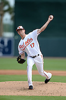 Baltimore Orioles pitcher Brian Matusz (17) during a spring training game against the Philadelphia Phillies on March 7, 2014 at Ed Smith Stadium in Sarasota, Florida.  Baltimore defeated Philadelphia 15-4.  (Mike Janes/Four Seam Images)