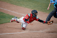 Batavia Muckdogs catcher Pablo Garcia (4) tags Korby Batesole (not shown) out at home during a game against the Lowell Spinners on July 15, 2018 at Dwyer Stadium in Batavia, New York.  Lowell defeated Batavia 6-2.  (Mike Janes/Four Seam Images)