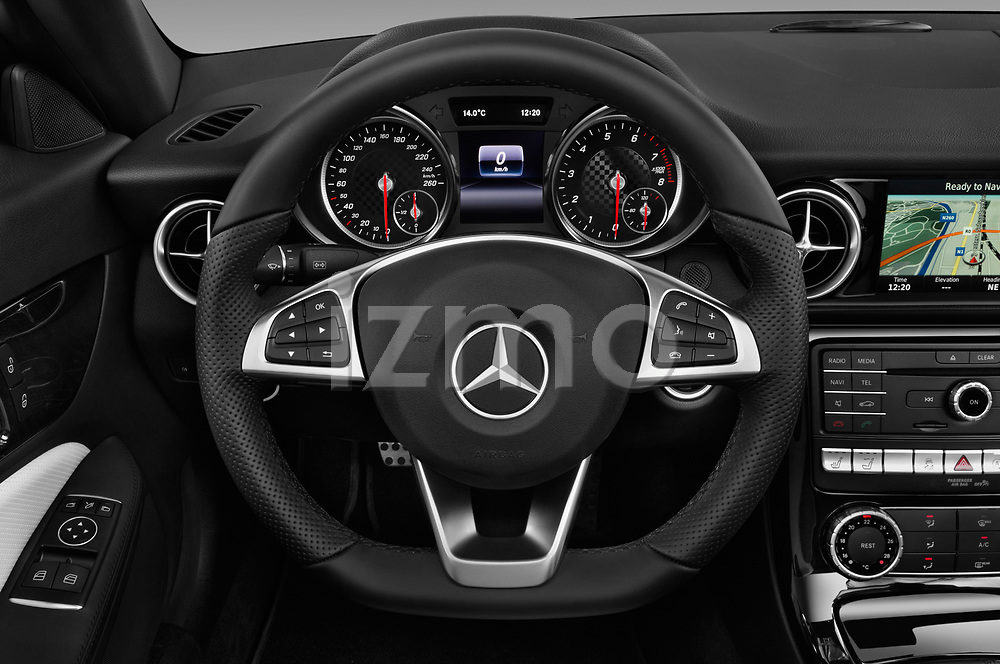 Car pictures of steering wheel view of a 2018 Mercedes Benz SLC AMG Line 2 Door Convertible