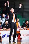 S&ouml;dert&auml;lje 2015-02-03 Basket Basketligan S&ouml;dert&auml;lje Kings - Norrk&ouml;ping Dolphins :  <br /> Norrk&ouml;ping Dolphins tr&auml;nare head coach Lars Lasse Johansson reagerar under matchen mellan S&ouml;dert&auml;lje Kings och Norrk&ouml;ping Dolphins <br /> (Foto: Kenta J&ouml;nsson) Nyckelord:  S&ouml;dert&auml;lje Kings SBBK T&auml;ljehallen Norrk&ouml;ping Dolphins portr&auml;tt portrait tr&auml;nare manager coach