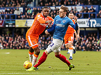 Blackpool's Donervon Daniels competing with Portsmouth's Ronan Curtis<br /> <br /> Photographer Andrew Kearns/CameraSport<br /> <br /> The EFL Sky Bet League One - Portsmouth v Blackpool - Saturday 12th January 2019 - Fratton Park - Portsmouth<br /> <br /> World Copyright &copy; 2019 CameraSport. All rights reserved. 43 Linden Ave. Countesthorpe. Leicester. England. LE8 5PG - Tel: +44 (0) 116 277 4147 - admin@camerasport.com - www.camerasport.com