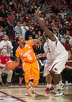 NWA Democrat-Gazette/ANTHONY REYES &bull; @NWATONYR<br /> Alandise Harris, Arkansas senior, defends Kevin Punter, Tennessee junior, in the second half Tuesday, Jan. 27, 2015 at Bud Walton Arena in Fayetteville. The Razorbacks won 69-64.