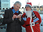 Drogheda United manager Mick Cooke talks to Drogheda Independent Editor at the Santa Run at Scotch Hall. Photo: Colin Bell/pressphotos.ie