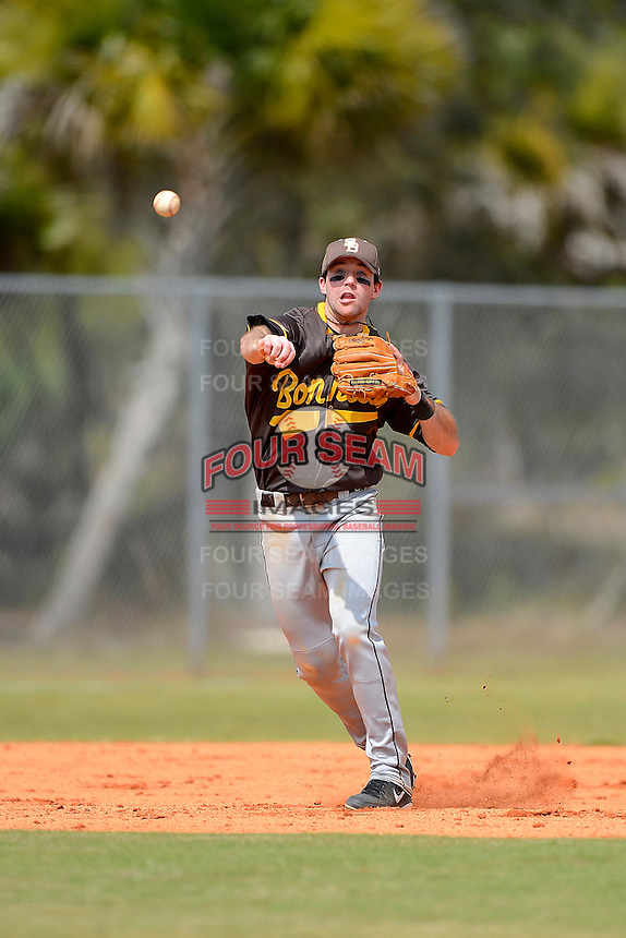 St. Bonaventure Bonnies third baseman Billy Urban #6 throws to first during a game against the South Dakota State Jackrabbits at North Charlotte Regional Park on February 23, 2013 in Port Charlotte, Florida.  South Dakota State defeated St. Bonaventure 10-5.  (Mike Janes/Four Seam Images)