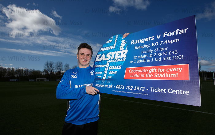 Calum Gallagher promoting easter fun at the Forfar game tomorrow night
