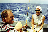 Ann Arbor, MI - FILE -- United States Representative Gerald R. Ford (Republican of Michigan) relaxes while deep-sea fishing during a Caribbean vacation. Date: ca. 1972<br /> Credit: Courtesy Gerald R. Ford Library via CNP