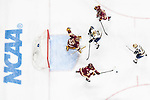ST PAUL, MN - APRIL 7: Mikey Anderson #3 of the Minnesota-Duluth Bulldogs clears the puck against the Notre Dame Fighting Irish during the Division I Men's Ice Hockey Championship held at the Xcel Energy Center on April 7, 2018 in St Paul, Minnesota. (Photo by Tim Nwachukwu/NCAA Photos via Getty Images)
