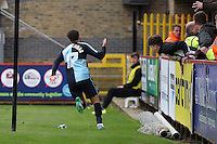 Max Kretzschmar of Wycombe Wanderers celebrates scoring his sides 1st goal during the Sky Bet League 2 match between Stevenage and Wycombe Wanderers at the Lamex Stadium, Stevenage, England on 17 October 2015. Photo by PRiME Media Images.