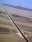 Nazca, Peru.  High view of the Pan - American highway going through the desert.