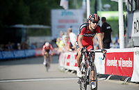 stage winner Philippe Gilbert (BEL/BMC) crossing the finish line with Tim Wellens only 10 seconds behind<br /> <br /> Ster ZLM Tour 2014