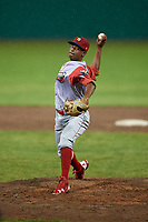 Williamsport Crosscutters relief pitcher Randy Alcantara (39) delivers a pitch during a game against the Batavia Muckdogs on June 22, 2018 at Dwyer Stadium in Batavia, New York.  Williamsport defeated Batavia 9-7.  (Mike Janes/Four Seam Images)