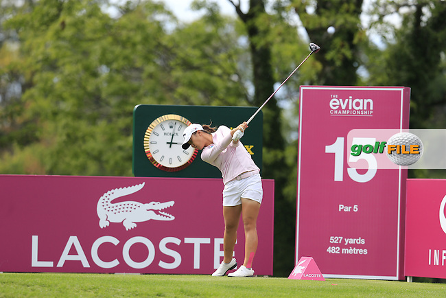 Lydia Ko (NZL) tees off the 15th tee during Sunday's Final Round of the LPGA 2015 Evian Championship, held at the Evian Resort Golf Club, Evian les Bains, France. 13th September 2015.<br /> Picture Eoin Clarke | Golffile