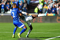 Lee Peltier of Cardiff City battles with Nathan Dyer of Swansea City during the Sky Bet Championship match between Swansea City and Cardiff City at the Liberty Stadium in Swansea, Wales, UK. Sunday 27 October 2019