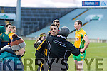 Dr. Crokes players and supporters celebrate defeating Corofin in the Semi Final of the Senior Football Club Championship at the Gaelic Grounds, Limerick on Saturday.