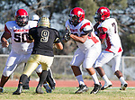 Palos Verdes, CA 10/27/17 - Deontay McCray (Morningside #50), LaKaiye Walker (Morningside #58), Wyatt Chang (Peninsula #9) and Tyree Brown (Morningside #7)in action during the Morningside Monarchs - Palos Verdes Peninsula Varsity football game at Peninsula High School.