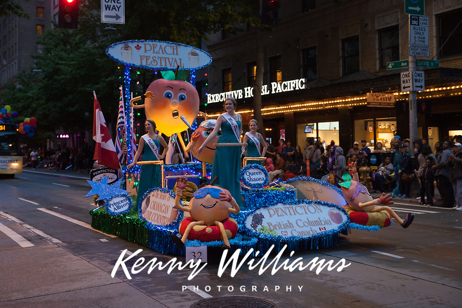 Peach Festival Float, Seafair Torchlight Parade 2015, Seattle, Washington State, WA, America, USA.