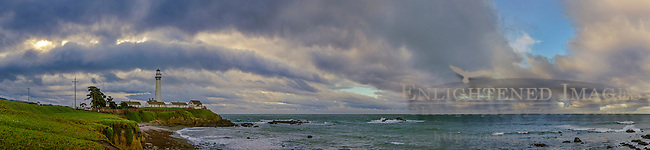 Storm clouds over Pigeon Point Lighthouse, San Mateo County coast, California