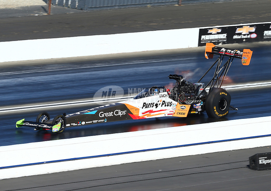 Feb 14, 2016; Pomona, CA, USA; NHRA top fuel driver Clay Millican during the Winternationals at Auto Club Raceway at Pomona. Mandatory Credit: Mark J. Rebilas-USA TODAY Sports