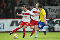 Filipe Morais of Stevenage takes on Steven Jennings of Coventry. Stevenage v Coventry City - npower League 1 - Lamex Stadium, Stevenage - 26th December, 2012. © Kevin Coleman 2012......