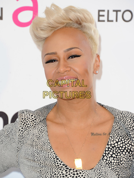 Emeli Sande.The 21st Annual Elton John AIDS Foundation Academy Awards Viewing Party held at The City of West Hollywood Park in West Hollywood, California, USA..February 24th, 2013.oscars headshot portrait grey gray white black print tattoo                                            .CAP/DVS.©DVS/Capital Pictures.