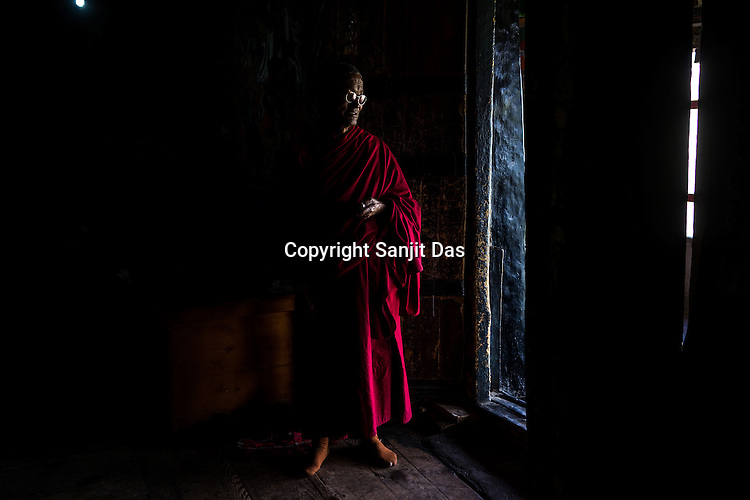 Nawang Tundup, one of the Tibetan monks at the Thiksey Monastery outside of Leh in Ladakh region in Kashmir, India.