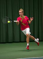Rotterdam, The Netherlands, 15.03.2014. NOJK 14 and 18 years ,National Indoor Juniors Championships of 2014, Just van der Kroft (NED)<br /> Photo:Tennisimages/Henk Koster