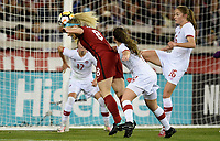San Jose, CA - Sunday November 12, 2017: Julie Ertz scores during an International friendly match between the Women's National teams of the United States (USA) and Canada (CAN) at Avaya Stadium.