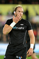 Ospreys' Alun Wyn Jones during the pre match warm up<br /> <br /> Photographer Ashley Crowden/CameraSport<br /> <br /> Guinness Pro14 Round 6 - Ospreys v Scarlets - Saturday 7th October 2017 - Liberty Stadium - Swansea<br /> <br /> World Copyright &copy; 2017 CameraSport. All rights reserved. 43 Linden Ave. Countesthorpe. Leicester. England. LE8 5PG - Tel: +44 (0) 116 277 4147 - admin@camerasport.com - www.camerasport.com
